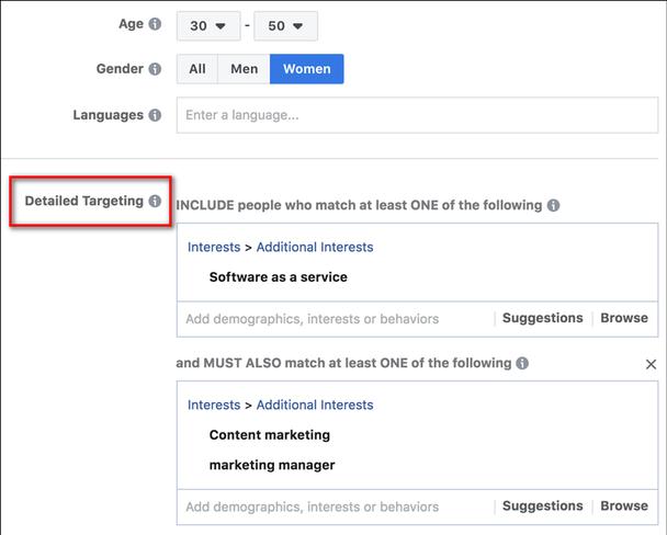 Настроив точное таргетирование по интересам (пункт выделен красной рамочкой), вы будете точно знать, на кого вы «нацеливаетесь», и сможете создавать умные объявления Facebook, говорящие о болевых точках вашей целевой аудитории.