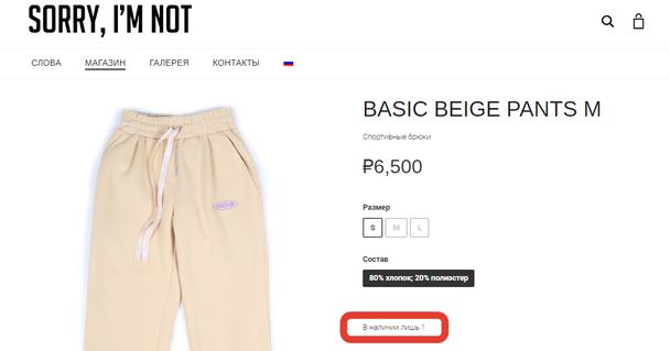 На странице продукта отмечено, что в наличии осталась последняя пара брюк