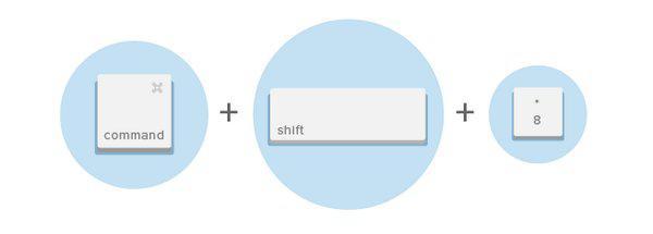 Вставить маркированный список (Ctrl + Shift + 8 / Command + Shift + 8)