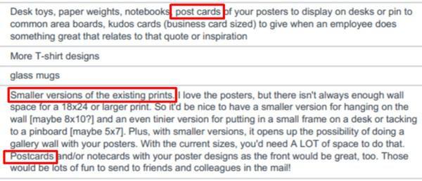 Выделено красным: почтовые открытки, принты меньшего размера, открытки
