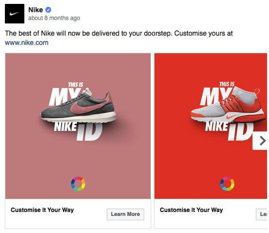 Nike использует яркие цвета в своих рекламных кампаниях, чтобы выделяться в новостной ленте Facebook