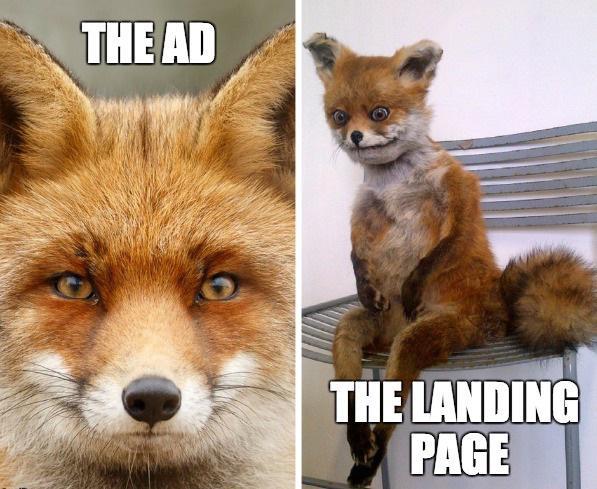 Слева — реклама Справа — лендинг