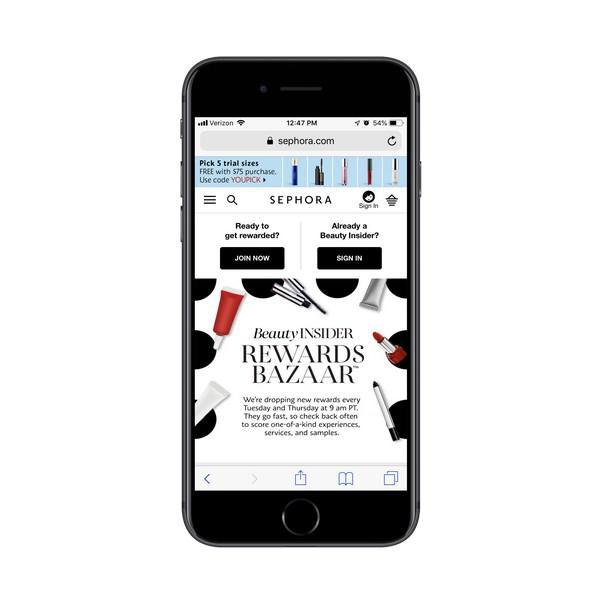 Rewards Bazaar — это точечная система вознаграждений Sephora, которые можно использовать для покупки продуктов и услуг