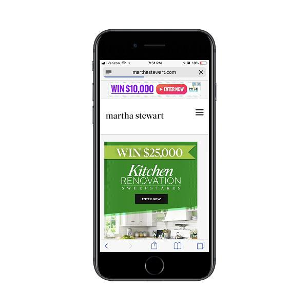 Рекламное объявление о розыгрыше денежных призов на сайте Martha Stewart