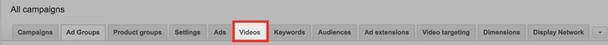 Вы можете просмотреть эти показатели, нажав на раздел «Видео» в своей учетной записи Google Ads
