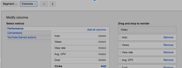 Если некоторые показатели не отображаются, вы можете добавить их, щелкнув раскрывающееся меню «Столбцы», найдя нужный показатель и кликнув команду «Добавить».