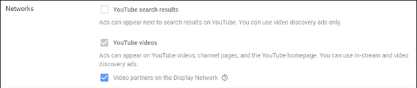 при настройке рекламной кампании YouTube вы можете выбрать, хотите ли вы, чтобы ваши объявления показывались на партнерских видео