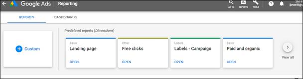 Перейдите на панель инструментов «Отчеты» и кликните «Просмотреть все».