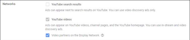 Вы можете выбрать, будут ли ваши объявления появляться в результатах поиска YouTube, в видеороликах YouTube и / или в коллекции других сайтов и приложений, входящих в контекстно-медийную сеть Google.