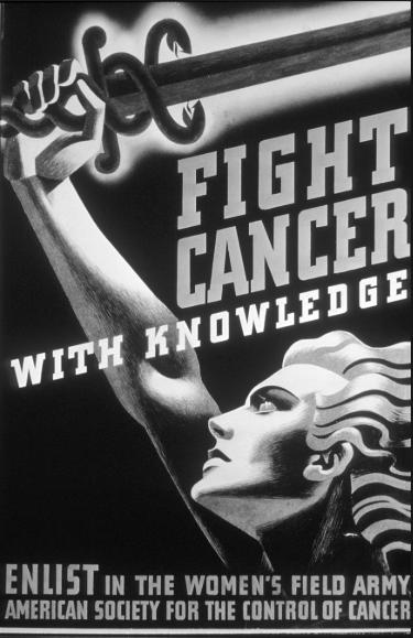 «Борись с раком, вооружившись знанием! Запишись в ряды действующей армии женщин. Американское общество контроля раковых заболеваний»
