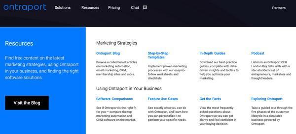 На своем сайте сервис Ontraport предлагает всем пользователям посетить свой блог и посвятить время изучению большого количества ценного материала о маркетинге и том, как их решение способно помочь бизнесу