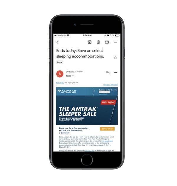 Рекламная рассылка от Amtrak в мобильном приложении Gmail