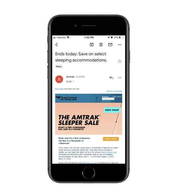 Рекламная рассылка от Amtrak в Gmail после инверсии цветов
