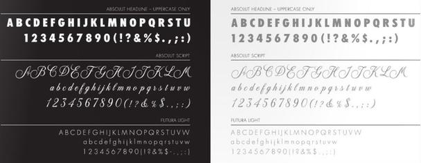 Примеры основных шрифтов из руководства по стилю бренда Absolut