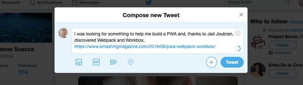 «Я искала информацию о создании PWA и, благодаря материалу Джада Джубрана, обнаружила Webpack и Workbox. [обычная ссылка]» — пример обычного поста, опубликованного в Twitter