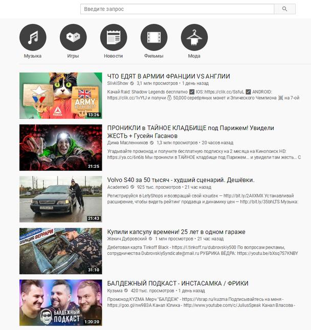 страница трендов в YouTube