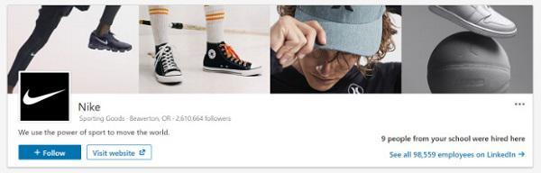 Бизнес-страница Nike