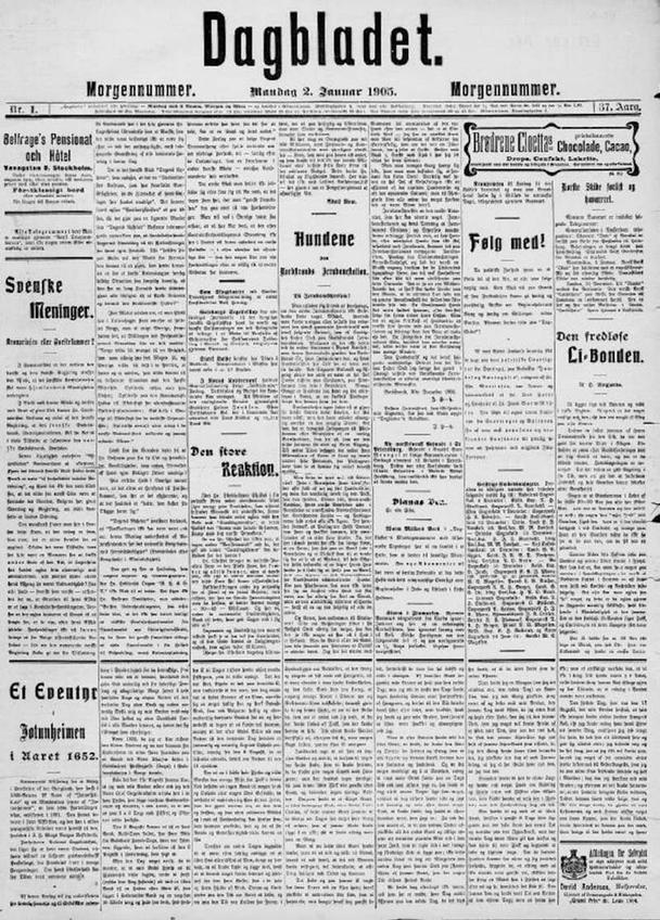 Ранние публикации, такие как это издание норвежской газеты Dagbladet 1905 года, часто очень тесно связаны с их сеточными системами.