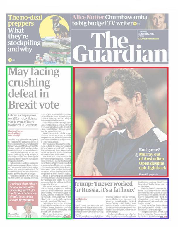 Модульная раскладка в действии на странице The Guardian.