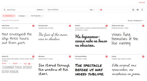 Рукописные шрифты от Google Fonts