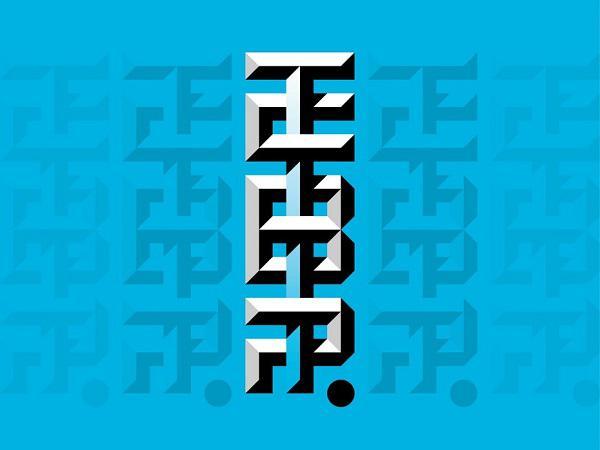 Логотип в виде скошенной монограммы с сильным затенением