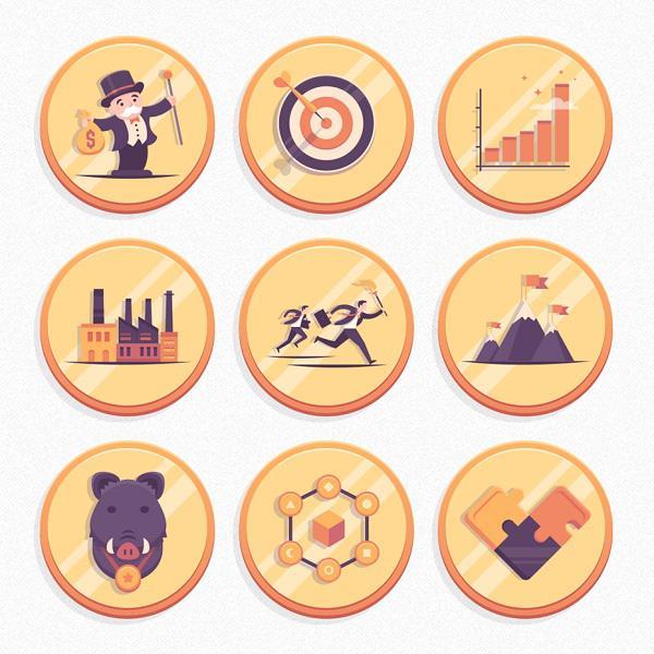 Слои на этих иконках в виде монет добавляют им глубины