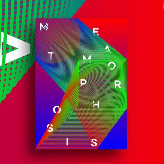 Абстрактный, геометрический постер с сюрреалистическими цветами и фигурами