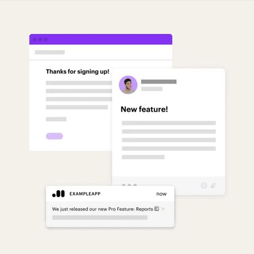 Пример многоканального подхода: персональный менеджер отправляет клиенту письмо с благодарностью за регистрацию, затем при помощи push-уведомления сообщает о новой опции, доступной в приложении.
