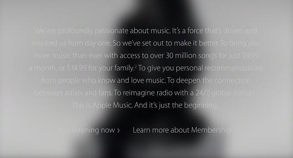 Неконтрастный текст на одной из старых версий сайта Apple Music