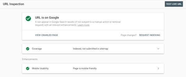 После вы получите небольшой отчет о том, появляется ли страница в результатах поиска Google, просканирована ли она и является ли mobile-friendly, то есть хорошо ли просматривается на разных устройствах.