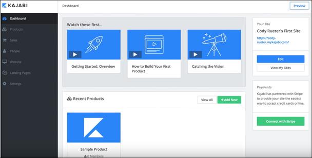 Kajabi позволяет создавать продвинутые видеокурсы и без затруднений размещать их на вашем домене, помогая создавать ресурсы для продвижения в социальных сетях.