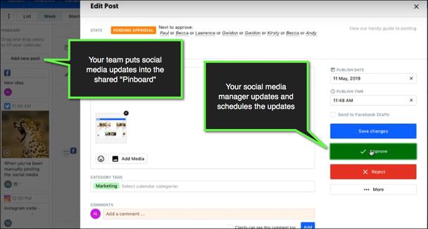 Пример совместного использования ContentCal: на скриншоте публикация, требующая подтверждения. В левой выноске комментарий: «Ваша команда размещает обновления для соцсетей в общей панели». В правой выноске: «Ваш менеджер социальных сетей планирует и публикует обновления».