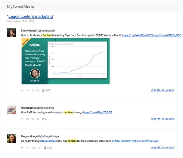 Пример уведомлений о релевантных твитах, содержащих ключевое слово «контент».
