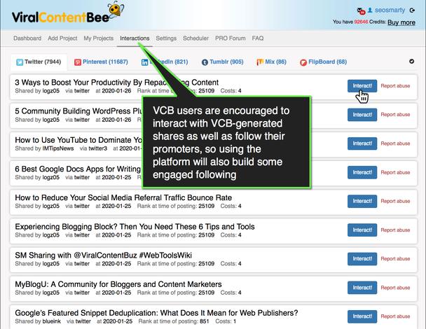 Комментарий в выноске: «Пользователям Viral Content Bee (VCB) рекомендуется взаимодействовать с акциями, генерируемыми VCB, а также следить за их промоутерами, поэтому использование платформы также вызовет интерес у некоторых подписчиков».