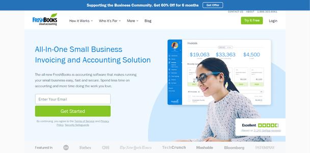 «Многофункциональное решение для выставления счетов и учета в малом бизнесе. Наше облачное ПО позволяет быстро, просто и безопасно справляться с бухгалтерскими отчетами. Тратьте меньше времени на счета — и больше на работу, которую вы любите. Начать»