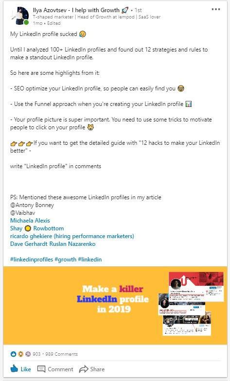 «Мой профиль в LinkedIn был по-настоящему отстойным. Но лишь до той поры, пока я не проанализировал более 100 профилей и не выявил 12 стратегий, как сделать свой профиль успешным...»
