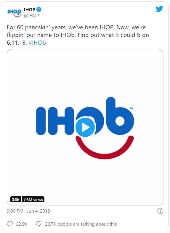 На протяжении 60 лет мы были IHOP. Теперь мы меняем наше имя на IHOb. Узнайте, что это значит 6.11.18. #IHOb
