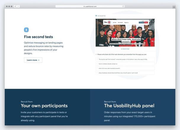 Облачный сервис Usability Hub облегчает выполнение пятисекундных тестов.