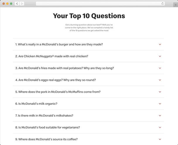 Mcdonald's не боится напрямую обращаться к проблемам, затронутым пользователями.