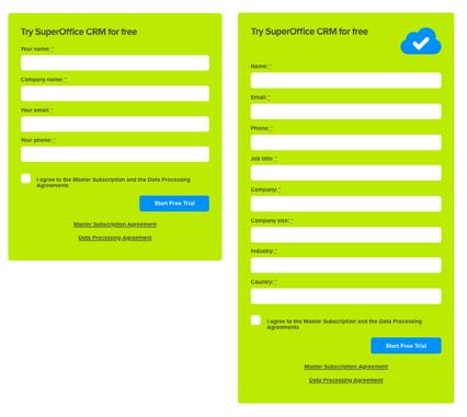 более длинная веб-форма SuperOffice