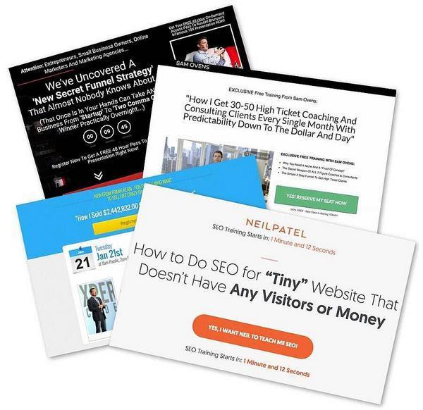 Рассел Брансон (Russell Brunson), Нил Патель (Neil Patel), Фрэнк Керн(Frank Kern) и Сэм Оверс (Sam Ovens) — это лишь несколько примеров тех экспертов, использующих вебинары для продажи своих онлайн-курсов, которые стоят отнюдь не дешево: от $1 000 до $5 000.