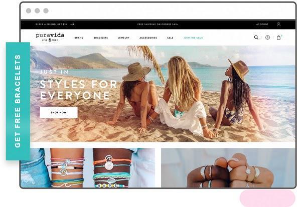 Сайт Pura Vida Кнопка слева: «Получите браслет бесплатно»