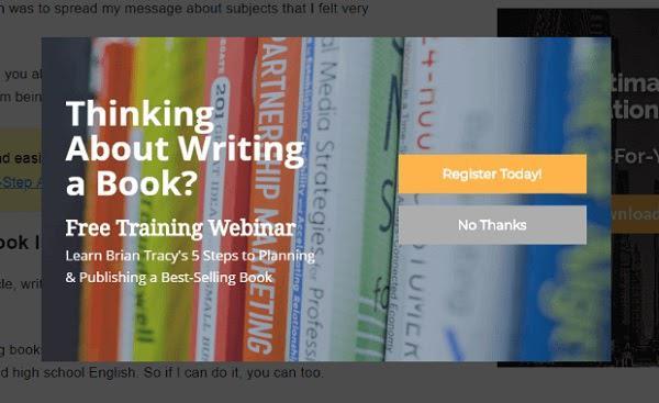 Думаете о написании книги? Бесплатный вебинар от Брайана Трейси Как написать и издать бестселлер за 5 шагов. Кнопка «Зарегистрироваться сегодня!» Кнопка «Нет, спасибо»