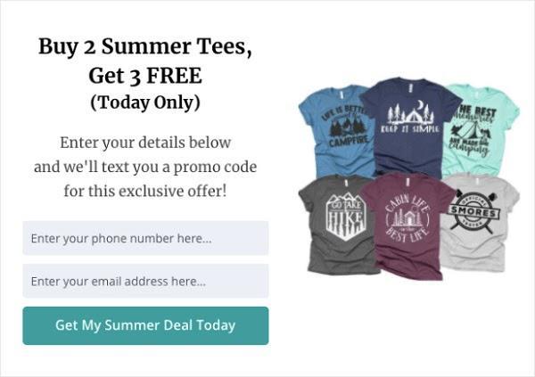 Купите 2 летние футболки Получите 3-ю в подарок (Только сегодня) Оставьте свои контактные данные и мы отправим вам промо-код на это эксклюзивное предложение! Поле 1: Введите ваш телефонный номер здесь… Поле 2: Введите ваш email-адрес здесь… Кнопка: «Получить спецпредложение сегодня»