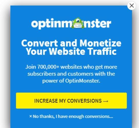 Конвертируйте и монетизируйте ваш трафик Присоединяйтесь к более 700 000 сайтов, получающих огромное количество подписчиков и клиентов с помощью OptinMonster Кнопка «Повысить конверсию сайта» «Нет, спасибо. Я получаю достаточно конверсий.»
