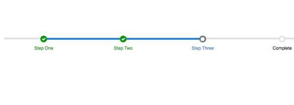 Индикаторы прогресса дают пользователям понимание того, как долго вам понадобится их внимание На изображении: Шаг 1, Шаг 2, Шаг 3, Конец