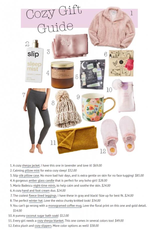 «Руководство по уютным подаркам» (A cozy gift guide), «Подарки для нее» (Gifts for her) и «Лучшие подарки для красоты» (Top beauty gifts)