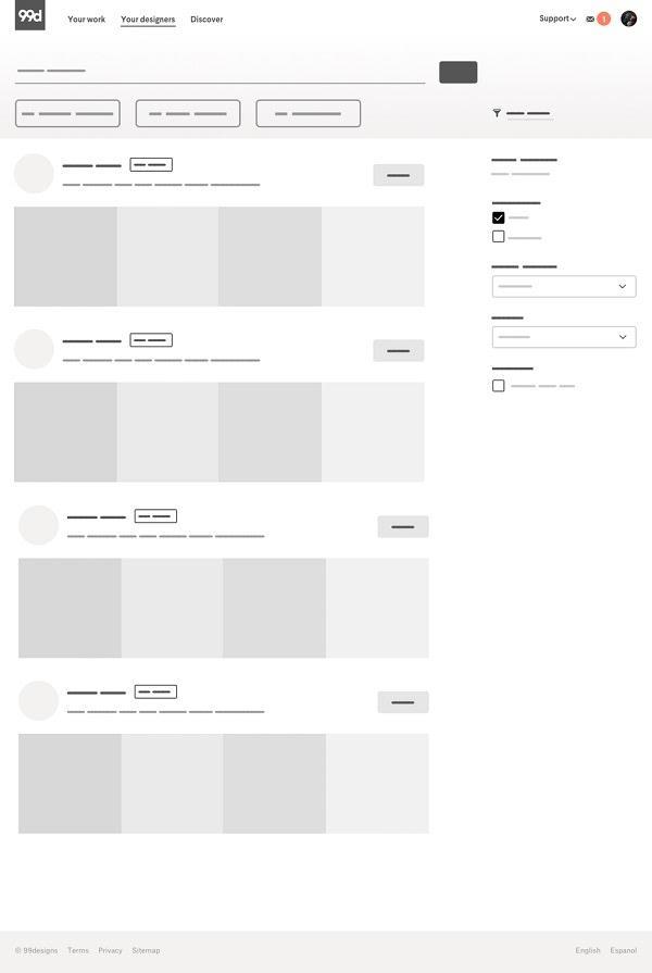 Базовый каркас страницы «Поиск»