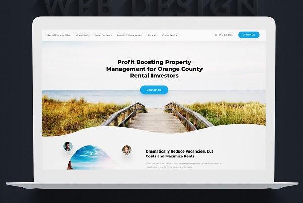 Этот макет сайта обрезает графику в нижней части экрана («сгиб»), побуждая тем самым посетителей прокрутить страницу вниз