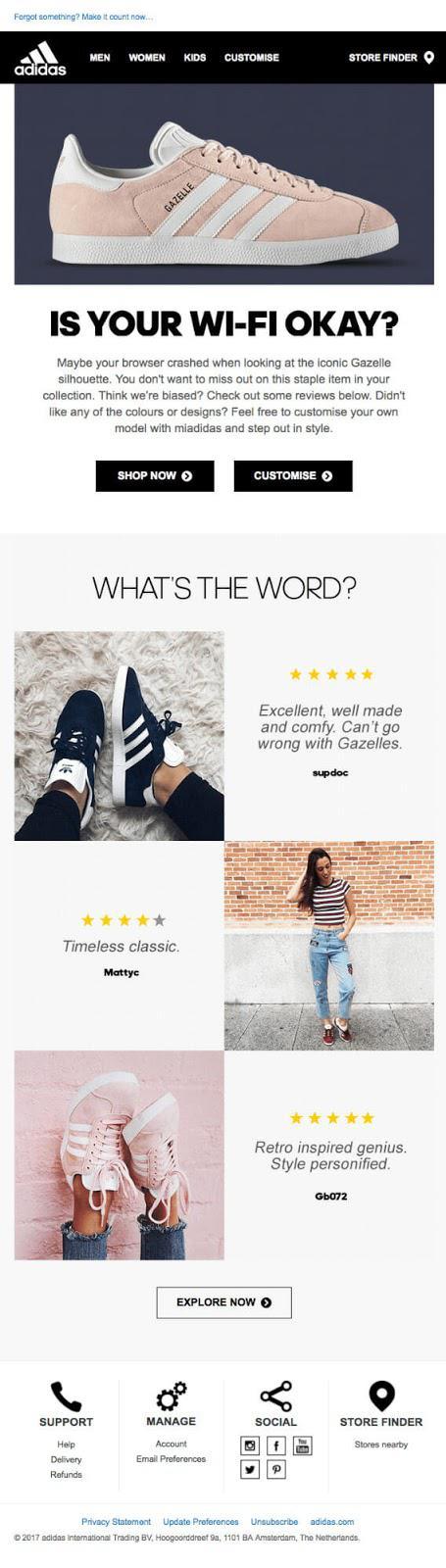 Adidas на своей странице отзывов предлагает ознакомиться с мнениями покупателей, купивших легендарную модель кроссовок adidas Gazelle, приобрести этот товар, кастомизировать заказ под свои вкусы или подробнее изучить данное предложение.
